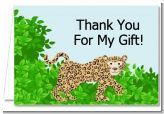 This leopard thank you card is cute for having an animal print themed baby shower especially for having a baby boy.