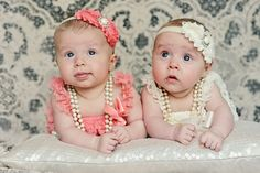 Starr Twins {Newborn Photos} by Ashley Kressin Photography. Love how the lace and pearls work together.