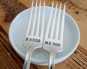 I Redo, Me Too(TM) Wedding Cake Fork Set  - Hand Stamped - Vintage Wedding - Vow Renewal
