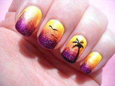 Luau sunset nails