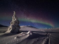 The northern lights flash over a snowy nighttime landscape in Finnish Lapland in this National Geographic Photo of the Day.