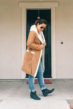 Hooded faux suede coatfrom Forever21. Boots from ANINE BING.