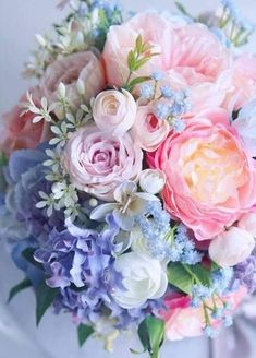 New Flowers Spring Bouquet Floral Arrangements Pink Ideas Spring Bouquet, Spring Flowers, Pastel Flowers, Pastel Pink, Rose Bouquet, Pastel Bouquet, Blush Pink, Pink Roses, Pink Blue