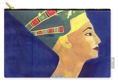 """Nefertiti  Carry-All Pouch by Mohamed Allam.  Our pouches are great.  They're availabe in sizes from 6"""" x 5"""" up to 12.5"""" x 8.5"""".  Each pouch is printed on both sides (same image)."""