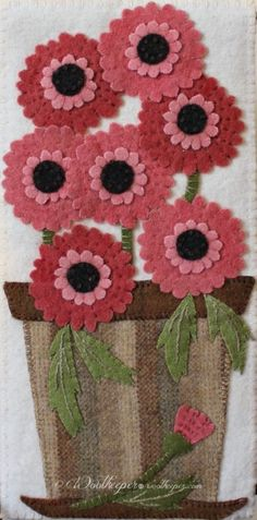 Welcoming a new visit or. Enjoying new violets. Teaching a new class - Gerbera Daisies - pattern by Woolkeeper® . Wool Applique Quilts, Wool Applique Patterns, Wool Quilts, Wool Embroidery, Felt Patterns, Felt Applique, Felted Wool Crafts, Felt Crafts, Wool Felting