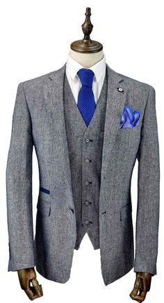 Mens 3 Piece Tweed Grey Blue Slim Fit Suit