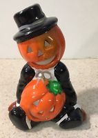 "Pumpkin Ceramic 5"" Figurine Votive Tea Light Candle Holder Halloween Scarecrow"