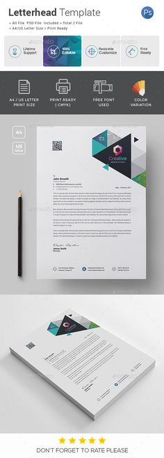 Letterhead template psd vector eps ai illustrator docx doc letterhead features of letterhead template color versions a4 paper size with bleeds quick and easy to spiritdancerdesigns