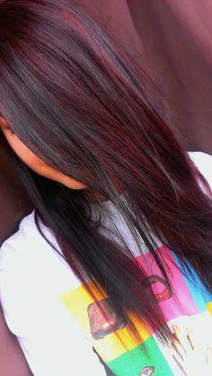 40 beautiful dark colored hairstyles that are look stylishly 17 Wine Hair, Hair Color Highlights, Peekaboo Highlights, Purple Hair, Black And Burgundy Hair, Brown Hair, Violet Hair, Hair Color And Cut, Brunette Hair