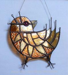 Type: Stained Glass (stained glass, decor, suncatcher);  Motive: birds;  Size: 21,0x21,0 sm;