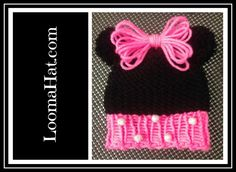 Loom knit Minnie Mouse Hat - Video Tutorial For FREE Pattern click link: http://www.loomahat.com/loom-knit-minnie-mouse-hat/