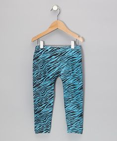 Love this S.W.A.K. Turquoise Zebra Leggings - Girls by S.W.A.K. on #zulily! #zulilyfinds