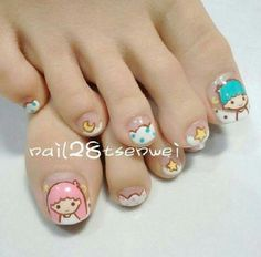 Cute Sanrio Kiki and Lala nails Asian Nail Art, Asian Nails, Nail Art Designs Images, Toe Nail Designs, Cute Toe Nails, Cute Nail Art, Feet Nail Design, Nails Design, Korea Nail Art