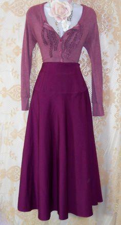 Purple midi skirt, satin high waist, full, small from vintage 1970's / opulence on Etsy