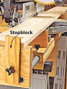 """Woodworking Miter Saw Turn your """"chop"""" saw into a precision cutting tool with these helpful tips. Woodworking Workshop, Woodworking Jigs, Woodworking Projects, Woodworking Shop Layout, Into The Woods, Garage Tools, Miter Saw, Homemade Tools, Wood Tools"""