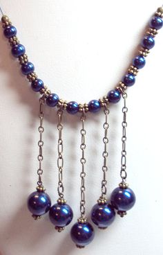 Necklace Dark Blue Sapphire  Glass Pearls Vintage Style Antique Brass FREE SHIPPING. $18.95, via Etsy.