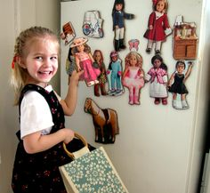 Genius!!!  DIY American girl fridge magnets from catalogue. Good idea for gifts!!  Send me your AG catalogues!!
