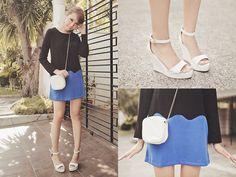 Sheinside Dress, Gold Dot Wedges, Zara Bag