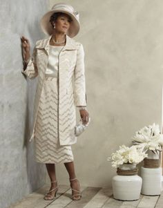 Sheri 3-Pc Skirt Suit and Beverlee Hat from ASHRO