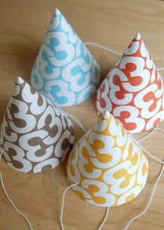 helvetica 3rd birthday party hats set of 8 by babydarling on Etsy, $18.00    Total Craft project