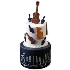 Bolo Musical, Decoration Patisserie, Guitar Cake, Cupcakes, Sugar Paste, Cake Designs, Cake Decorating, Layer Cakes, Musicians