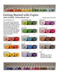 Copic Sketch markers.  Starter set.  Source:  http://brittaswiderski.com/wp-content/uploads/2012/06/06-02-12-Getting-Started-with-Copics.pdf