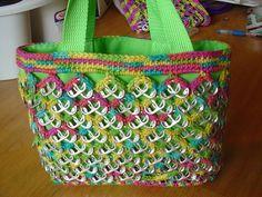Lime Green Pull-Tab Crochet Medium Tote