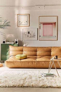 Leather Home Accessories Urban Outfitters - Greta Recycled Leather XL Sleeper Sofa. Cozy Living Rooms, Living Room Decor, Living Spaces, Xl Sofa, Sofa Bed, Sectional Sofa, Piece A Vivre, Retro Home Decor, Deco Design