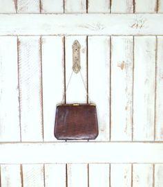 50s vintage brown alligator skin leather frame purse/brown leather handbag/frame bag by GreenCanyonTradingCo on Etsy