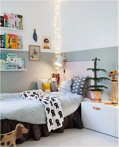 Wall bookshelves by the bed. http://www.thebooandtheboy.com/2016/11/kids-rooms-on-instagram_28.html