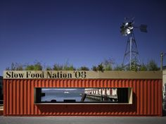shipping container restaurant   ... shipping containers, each topped by a full-size, galvanized-steel