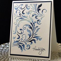 SIZZIX THINLITS Butterfly, Flourishes & Frame card | Thank You September 2016 Tim Holtz die. Brusho watercolors underneath ...