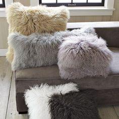 westelm, west elm, fur, mongolian lamb, pillow, comfy, warmth, decor, cover