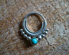 Septum Ring, Tribal Septum Ring, Silver Septum Ring, Septum Piercing, Nose Ring, Turquoise Septum Ring, Piercing Jewelry, Ethnic Septum Ring