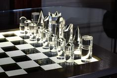 Chess set - clear acrylic pieces