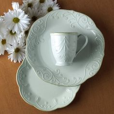 Lenox French Perle 4 Piece Place Setting, Service for 1 Color: Ice Blue Casual Dinnerware, Dinnerware Sets, Vintage Dinnerware, Vintage Plates, Earthenware, Stoneware, Place Settings, Table Settings, Lenox French Perle