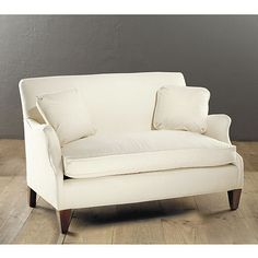Hudson Upholstered Settee - Ballard  Designs....maybe they have another option besides down...i can call tomorrow...is Ryan willing to try any of Ballard's small sofas for 10 days?