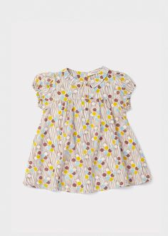 Annatto Baby Dress, Mink Dotty