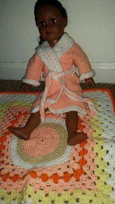 American girl crochet robe set
