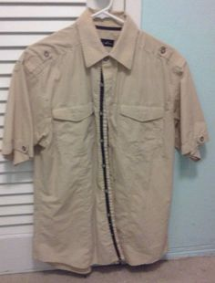 $1.49 Size Large Men's Beige Button-Down Shirt  #BreakoutJeans #ButtonFront