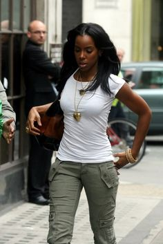White tee & army green pants, black combat boots would complete this look