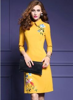 Cotton Solid 1028624/1028624 Sleeves Above Knee Elegant Dresses (1028624) @ floryday.com