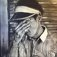 Wrinkled man drawn whit chalk!