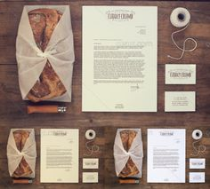 A stationery mock up for bakery with 2 vintage effects