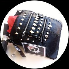 Vegan Faux  Leather Skull Studded Purse Handbag by ToxifyDesigns