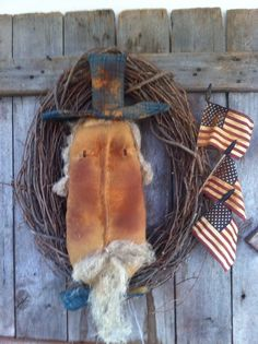 "Primitive Folk ARt Americana Uncle Sam wreath 24"" flags Grungy door charmer #NaivePrimitive"