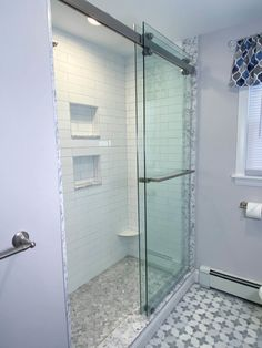 Stoneham Family Bathroom Gets a Major Upgrade | McGuire + Co. Kitchen & Bath Wakefield, MA Glass Shower Doors, Glass Bathroom, Glass Door, Bathroom Ideas, Shower Ideas, Gray And White Bathroom, Grey Bathrooms, Gray Vanity, Complete Bathrooms