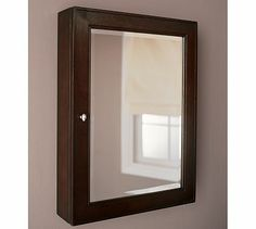 """Classic Wall-Mounted Medicine Cabinet #potterybarn extra-large size is 34"""" long $279 made of solid wood."""