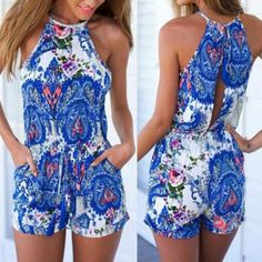 Wholesale Stylish Round Collar Sleeveless Printed Hollow Out Women's Romper
