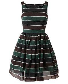 DOLCE & GABBANA   Striped Silk Organza Dress   Browns fashion & designer clothes & clothing